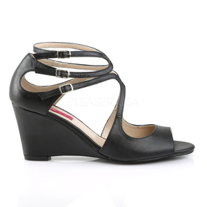 side of black strappy wedge sandals with 3-inch heel Kimberly-04