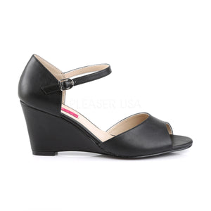 side of black ankle strap wedge peep toe sandals with 3-inch heel Kimberly-5