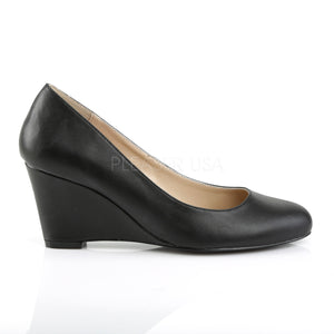 side of Classic black faux leather wedge pumps with 3-inch heels Kimberly-8