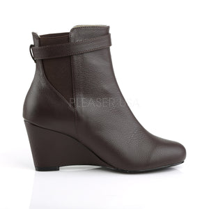side of brown ankle boot with 3-inch wedge heel Kimberly-102