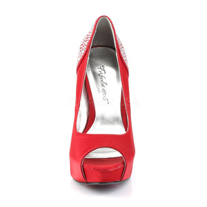 front of red Peep Toe Pump with Rhinestones on 5-inch Heel Lolita-08
