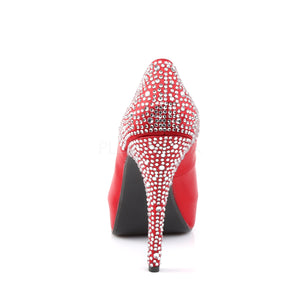 back of red Peep Toe Pump with Rhinestones on 5-inch Heel Lolita-08