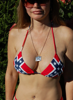 Rebel flag bikini Lycra triangle top 818693TT with Confederate flag necklace
