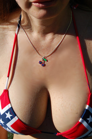 Rebel flag cherries necklace and Confederate flag bikini top