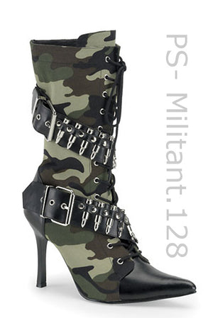Militant-128 Camouflage knee boor with 4 inch heel