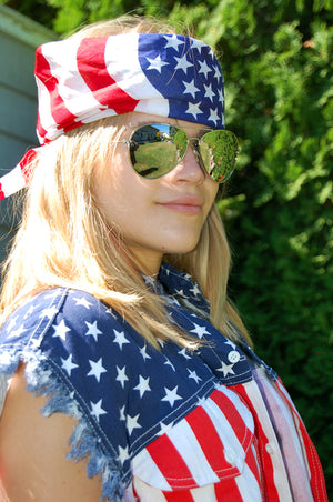 Waving USA American flag cotton bandana with USA shirt