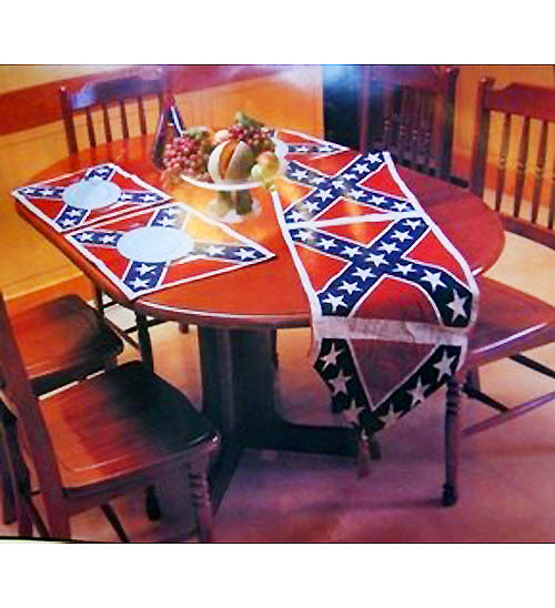 Rebel Confederate Flag Table Runner & Placemats 7-pc. Set