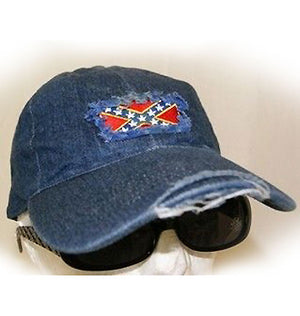 RF-5308 Rebel Flag Frayed Denim Cap