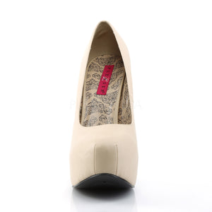 front of cream wide width pump shoes with 5-inch heel Teeze-06W