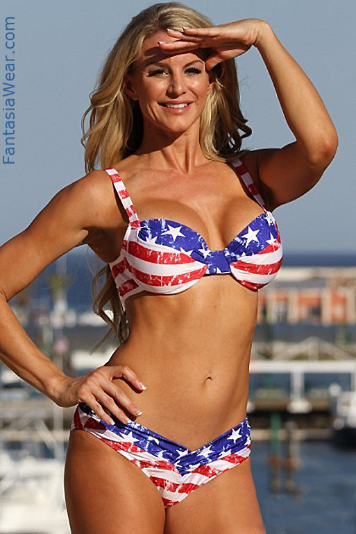 U-W252 Distressed American Flag Shaper Bikini 2-pc Set