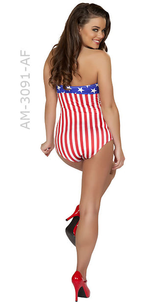 full back view of American flag USA 1940's pin-up romper