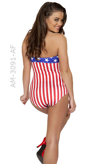 rear view American flag USA 1940's pin-up romper