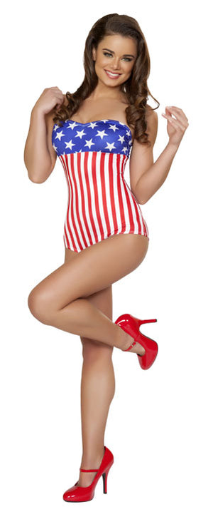 full front American flag USA stars and stripes 1940's pin-up romper