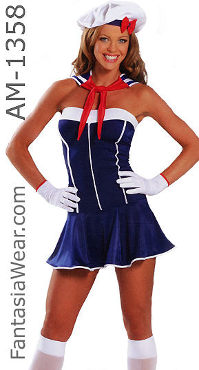 American Sailor Girl Dress 3-pc Costume