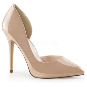 Open-sided cream pump high heel shoe with 5-inch spike heel Amuse-22