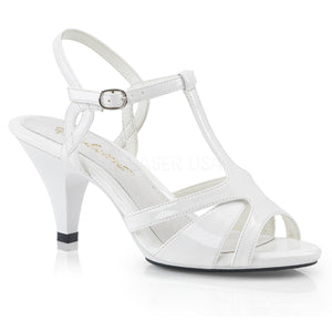 white High heel T-strap sandal shoe with 3-inch heel Belle-322