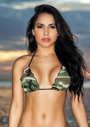 CR-STS-GIJANE Scalloped Camouflage Bikini Top