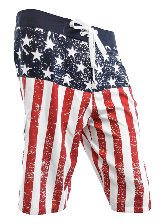 Distressed American Flag Boardshorts