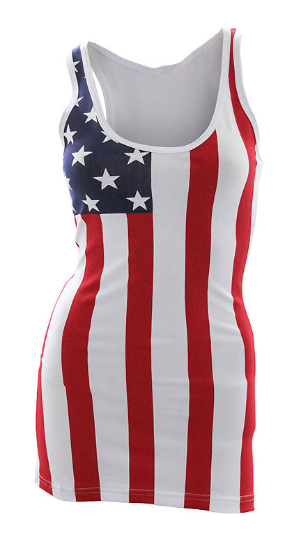 CS-ST3USA American Flag Tank Top Woman's Shirt and Cover Up