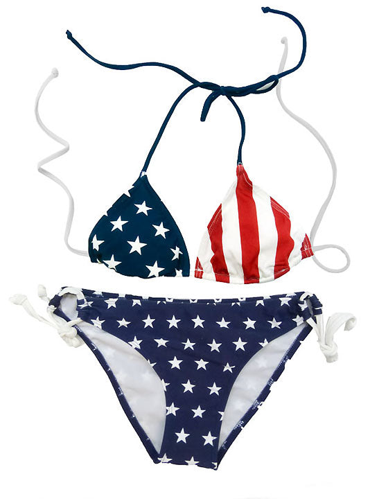 American Flag Stars Side Tie Bikini 2-pc Set