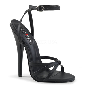 black faux leather strappy sandal shoe with 6-inch spike heel Domina-108