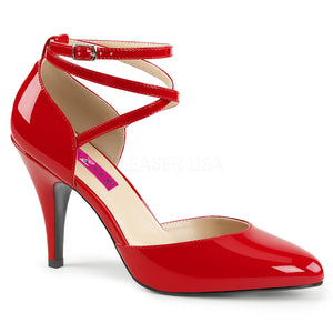 red Crisscross ankle strap D'Orsay pump shoes with 4-inch Dream-408