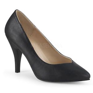 black faux leather Pointed toe pumps with 4-inch spike heel Dream-420