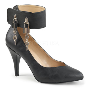 black faux leather wide band locking ankle strap pumps with 4-inch Dream-432