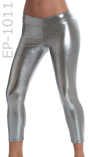 gun metal Stretch Metallic Foil Leggings 1011