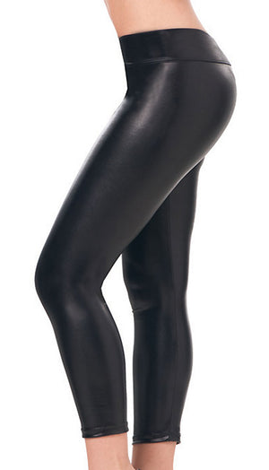 black Stretch Metallic Foil Leggings 1011