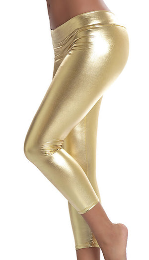 gold Stretch Metallic Foil Leggings 1011