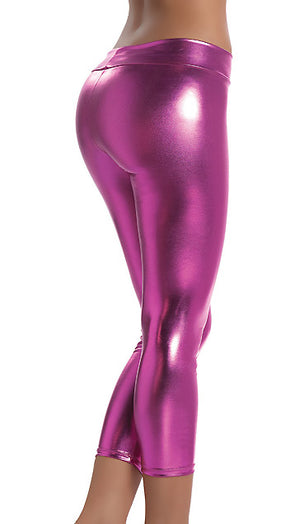 back view of pink Stretch Metallic Foil Leggings 1011