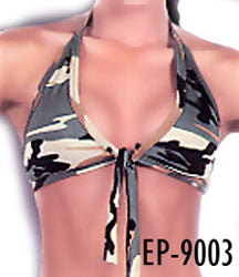 camouflage Front tie Daisy Mae halter top 9003