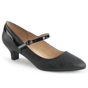 black faux leather Mary Jane pump with 2-inch kitten heel Fab-425