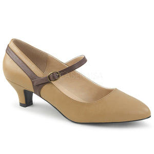 tan Mary Jane pump with 2-inch kitten heel Fab-425