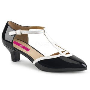 black and white T-Strap pump shoes with 2-inch heels Fab-428