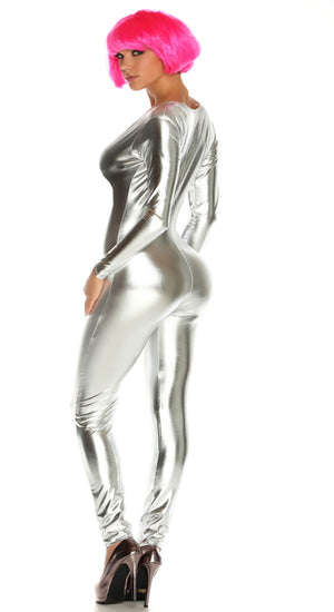 back view silver red Shiny metallic long sleeve catsuit 112001