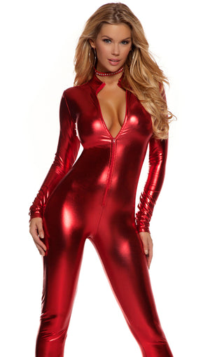 Low neckline shiny metallic long sleeve catsuit 113505