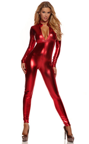 Low neckline shiny red metallic long sleeve catsuit 113505