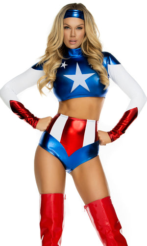 shiny metallic Pretty Patriot sexy super hero 2-piece costume