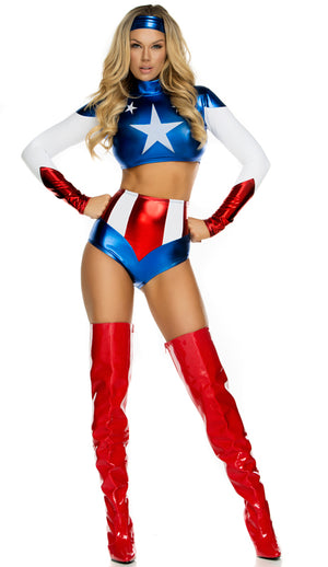554701 shiny Pretty Patriot sexy super hero 2-piece costume