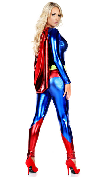 back view of Superwoman 2-pc superhero costume 555124