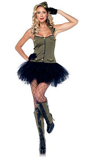full view military USO Gal 2-piece Army costume 85005
