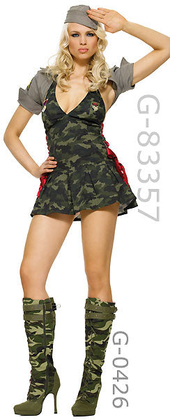 women's Army costume with sexy knee high camouflage Army boots 5025
