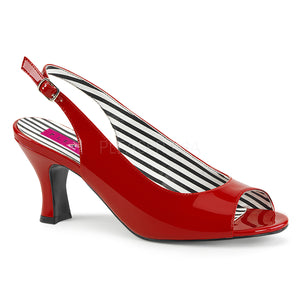 red slingback peep toe pump shoes with 3-inch heels Jenna-02