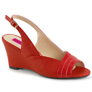 red slingback wedge peep toe sandal shoes with 3-inch heel Kimberly-01SP