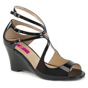 black strappy wedge sandal shoes with 3-inch heel Kimberly-04