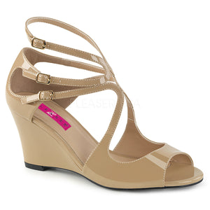 cream strappy wedge sandal shoes with 3-inch heel Kimberly-04