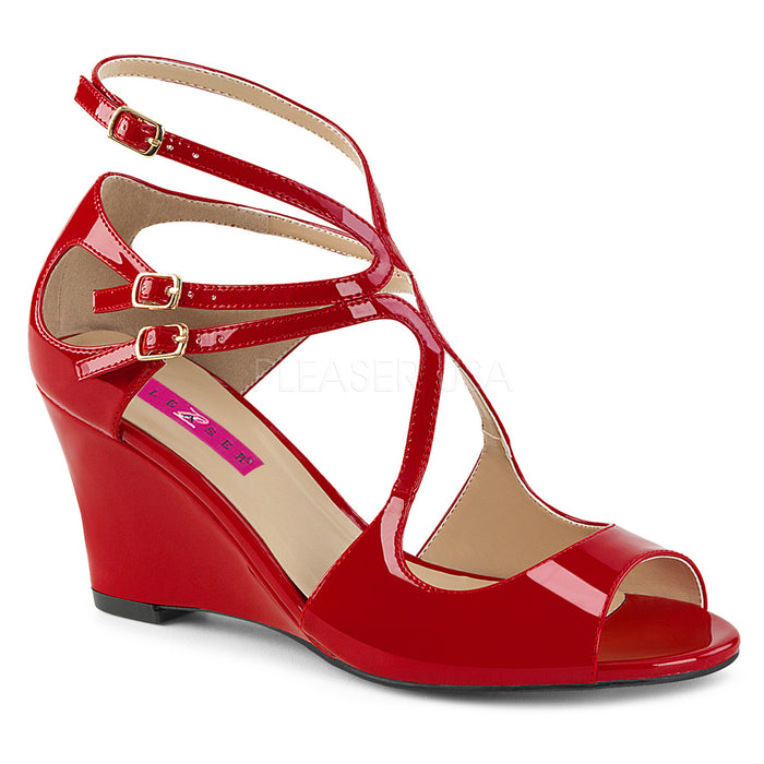 Strappy Wedge Sandal Shoes with Cutout Detail and 3-inch Heel 4-colors