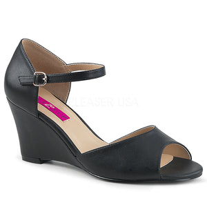 black ankle strap wedge peep toe sandal shoes with 3-inch heel Kimberly-5